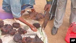 Bats and other bush meat being sold in a market outside Yaounde, Cameroon