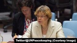 Sandra Honoré, envoyée spéciale de l'ONU en Haïti s'explique devant le Conseil de sécurité l'ONU, New York, 12 octobre 2017. (Twitter/@UNPeacekeeping)