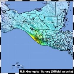 Guatemala earthquake map, June 14, 2017