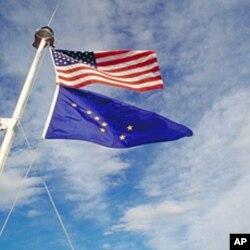 美国国旗和阿拉斯加州旗
