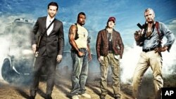 """ I love it when a plan comes together,"" is the signature line of Col. Hannibal Smith, the leader of the A-Team. (Left to right) Bradley Cooper as Templeton ""Face"" Peck; UFC light heavyweight Quinton ""Rampage"" Jackson as B.A. Baracas; Sharlto Copley as H."