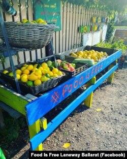 """Organisasi """"Food Is Free Laneway"""" di Ballarat, Australia, menyajikan buah-buahan yang dapat diambil tanpa bayar (gratis) dengan dekorasi yang menarik. (Facebook: Food Is Free Laneway Ballarat)."""