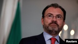 FILE - Mexican Foreign Secretary Luis Videgaray speaks with reporters at the State Department in Washington, Aug. 30, 2017.
