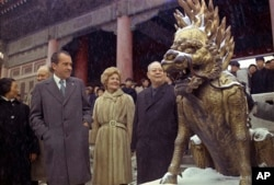 ** FILE ** In this Feb 24, 1972 file photo, U.S. President Richard M. Nixon and first lady Pat Nixon are seen as they visit the tombs of Chinese emperors of the Ming Dynasty, in the suburbs of China's capital of Beijing.