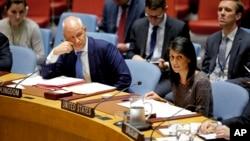 2017年8月和9月實施的、由美國主導的聯合國安理會最新一輪對北韓制裁會議資料照。