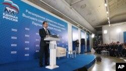 23일 드미트리 메디베데프 총리가 집권당 당직자 회의에서 발언하고 있다.