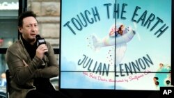 "Songwriter, photographer and philanthropist Julian Lennon participates in the BUILD Speaker Series to discuss his new children's picture book ""Touch the Earth"" at AOL Studios, April 13, 2017, in New York."
