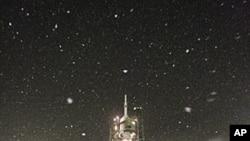 The Soyuz TMA-22 spacecraft rests on its launch pad at Baikonur cosmodrome. Members of the International Space Station (ISS) crew U.S. astronaut Daniel Burbank and Russian cosmonauts Anton Shkaplerov and Anatoly Ivanishin, November 14, 2011.
