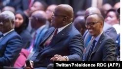 Président Paul Kagame ya Rwanda (g) na mokokani wa ye ya RDC, Félix Tshisekedi, na African CEO Forum, na Kigali, Rwanda, 25 mars 2019. (Twitter/Présidence RDC)