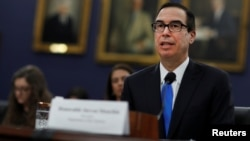 Secretary of the Treasury Steve Mnuchin testifies before the House Committee on Appropriations on Capitol Hill in Washington, April 11, 2018.