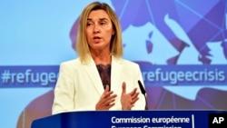 Kepala Kebijakan Luar Negeri Uni Eropa Federica Mogherini, memberikan keterangan kepada media sebelum KTT Uni Eropa mengenai isu migran di Brussels (23/9). Berbagai persoalan yang terjadi di Eropa, bisa merusak kepercayaan negara-negara anggota terhadap Uni Eropa.