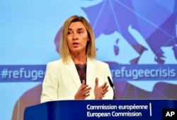 FILE - EU High Representative For Foreign Affairs and Security Policy Federica Mogherini.