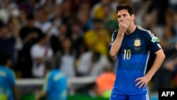 File photo: Argentina's forward and captain Lionel Messi reacts after losing the 2014 FIFA World Cup final football match between Germany and Argentina 1-0 following extra-time at the Maracana Stadium in Rio de Janeiro, Brazil, on July 13, 2014.