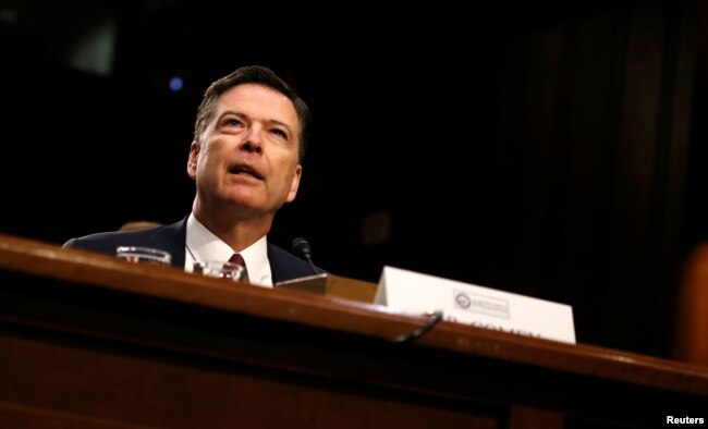 Former FBI Director James Comey testifies before a Senate Intelligence Committee hearing on Russia's alleged interference in the 2016 U.S. presidential election on Capitol Hill in Washington, June 8, 2017.
