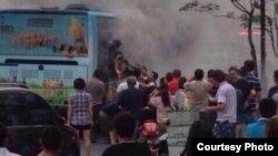 杭州一輛公交車被縱火(博訊圖片)