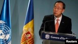 聯合國秘書長潘基文在安道爾的一個記者會上談到朝鮮核問題應該通過對話解決。