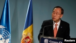 United Nations Secretary-General Ban Ki-moon speaks during a news conference in Andorra, April 2, 2013.