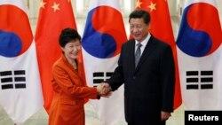 아시아태평양 경제협력체(APEC) 정상회의 참석 차 중국 베이징을 방문 중인 박근혜 한국 대통령(왼쪽)이 10일 인민대회장에서 시진핑 중국 국가주석과 정상회담을 가졌다.