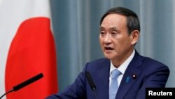 資料照:日本內閣官房長官菅義偉在記者會上講話。 (2019年9月11日)