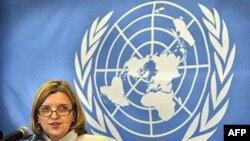Bà Karin Landgren, trưởng phái đoàn công tác của Liên Hiệp Quốc tại Nepal trong một cuộc họp báo ở Kathmandu, ngày 10/1/2011