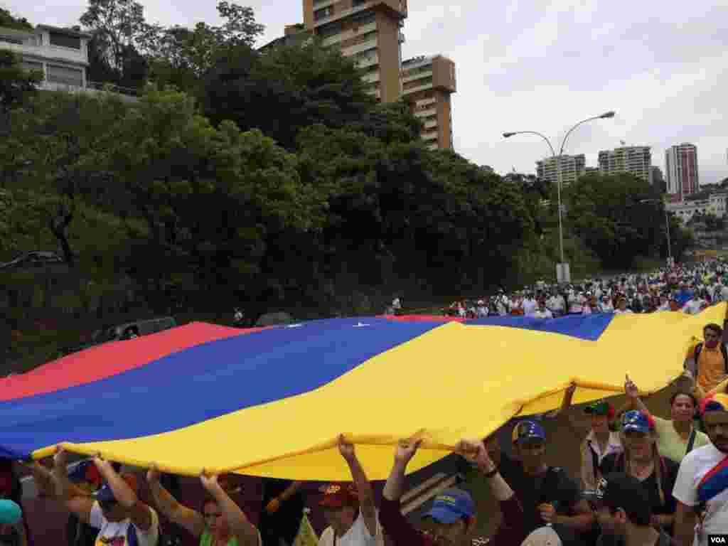 Opositores del gobierno de Nicolás Maduro llevan la bandera nacional de Venezuela exigiendo nuevas elecciones presidenciales. Foto: Álvaro Algarra/VOA