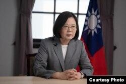 ប្រធានាធិបតីកោះតៃវ៉ាន់ Tsai Ing-wen ថ្លែងទៅកាន់ក្រុមអ្នកវិភាគនៅវិទ្យាស្ថាន Hudson និងមជ្ឈមណ្ឌលអភិវឌ្ឍន៍អាមេរិកាំង តាមរយៈវីដេអូ កាលពីថ្ងៃទី១២ សីហា ២០២០។