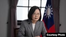 台灣總統蔡英文2020年8月12日對華盛頓智庫哈德遜研究所及美國進步中心發表預錄視頻演說(台灣總統府提供)