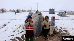 Anak-anak pengungsi Afghanistan berdiri di depan tenda mereka di kamp penampungan pengungsi di pinggiran kota Herat, 20 Januari 2015 (Foto: dok/ REUTERS/ Mohammad Shoib)