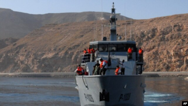 A Yemeni navy ship off the country's coast (file photo)