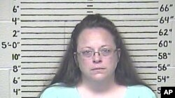 FILE - Kim Davis, clerk of Rowan County, Ky., remains jailed at the Carter County Detention Center for refusing to issue marriage licenses to gay couples.