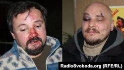 Ігор Ісхаков (л) і Дмитро Баркар після затримання і побиття, 20 січня 2014 року