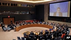 لیبیا کے مسئلے پر غور کے لیے ہونے والے سلامتی کونسل کے اجلاس کا منظر