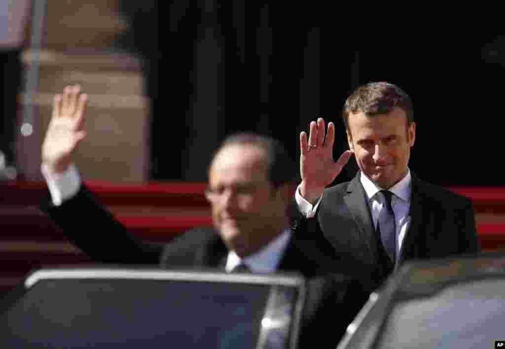 Francois Hollande da Emmanuel Macron, ranar 14 ga watan Mayu, 2017