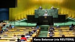 Perdana Menteri Mali Choguel Maiga dalam Sidang Umum PBB di Markas Besar PBB di New York City, AS, 25 September 2021. (Foto: Kena Betancur via REUTERS)