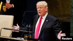 Prezidan ameriken an, Donald Trump, ki t ap pran lapawòl devan 73èm sesyon Asanble Jeneral Nasyon Zini an madi 25 septanm 2018