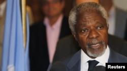 Utusan perdamaian PBB untuk Suriah, Kofi Annan dalam jumpa pres seusai pertemuan dengan Presiden Suriah Bashar al-Assad di Damaskus (9/7).