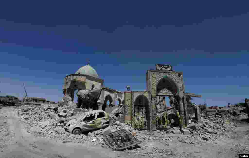The destroyed Grand al-Nuri Mosque is seen in the Old City of Mosul, Iraq.