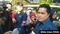 Menteri BUMN Erick Thohir yang ditemui usai Ratas di Kantor Presiden, Jakarta, Rabu (15/1)