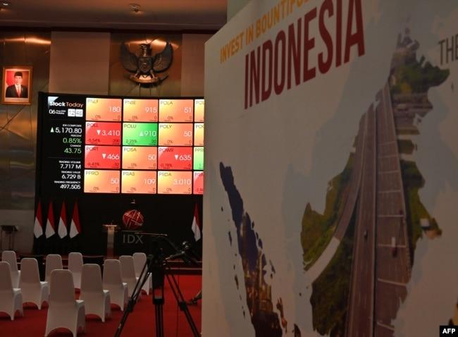 Harga saham di Bursa Efek Indonesia, Jakarta, 6 Agustus 2020. (Foto: ADEK BERRY / AFP)
