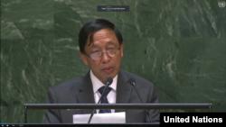 ႏိုဝင္ဘာလ ၄ ရက္ ကုလသမဂၢ အေထြေထြညီလာခံမွာ ICC ခံု႐ုံး အစီရင္ခံစာ တုံ႔ျပန္ေဆြးေနေြးေနတဲ့ ကုလသမဂၢဆို င္ရာ ျမန္မာသံအမတ္ႀကီး ဦးေဟာက္ဒိုဆြမ္း။ (ဓာတ္ပုံ - United Nations)