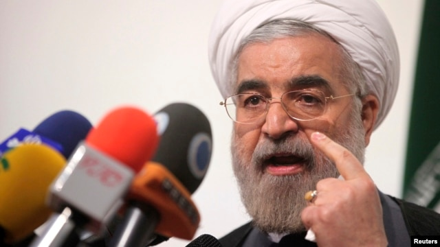 Iranian presidential candidate Hassan Rowhani, Iran's former top nuclear negotiator, speaks during a campaign rally in Tehran, May 30, 2013.