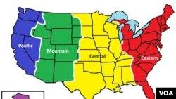 ABŞ-ın əsas ərazisi dörd vaxt zonasına bölünür. Şərq ştatları (qırmızı) qərbi ştatlardan (göy) üç saat öndə gedir.
