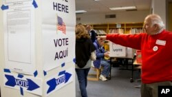 An election official directs voters on election day in McLean, Virginia on Nov. 5, 2013. (AP Photo/Jacquelyn Martin)
