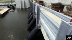 The Inner Harbor Navigation Canal Surge Barrier, constructed after Hurricane Katrina to prevent tidal surges from hurricanes from reaching New Orleans, is seen in St. Bernard Parish, La., June 22, 2012.