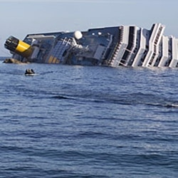 The cruise ship ran aground off the west coast of Italy