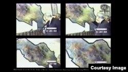 Snimke s videozapisa događaja Jedinice za specijalne operacije iz 1997., prikazanog tokom suđenja, u kojem su Jovica Stanišić i Slobodan Milošević ispred mape mjesta za trening kampove. (Foto: IRMCT)