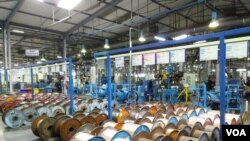 The Coficab factory in Tunisia (Henry Ridgwell/VOA)
