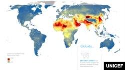 유니세프가 공개한 전세계 아동의 대기오염 노출 지도. 붉은색은 특히 오염이 심각한 지역을 나타낸다.