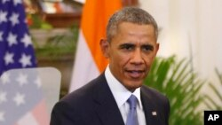 U.S. President Barack Obama is seen after talks with Indian Prime Minister Narendra Modi in New Delhi, India, Jan. 25, 2015.