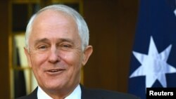 FILE - Australian Prime Minister Malcolm Turnbull is pictured at a news conference in Canberra, Nov. 15, 2017. Turnbull said on June 14, 2018, that a 2007 incident in which Australian soldiers flew a Nazi flag above a military vehicle while on duty in Afghanistan was outrageous.